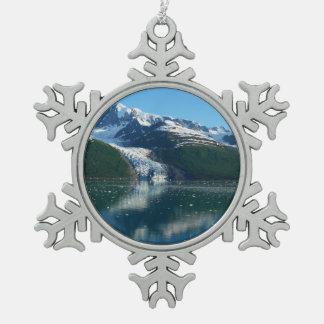 College Fjord II Beautiful Alaska Photography Snowflake Pewter Christmas Ornament