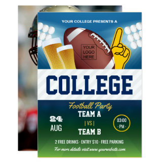 College Football Party change color and add logo Card
