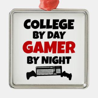 College Gamer Silver-Colored Square Ornament