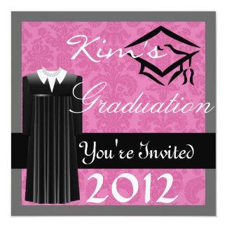 COLLEGE GRADUATION 2012 DAMASK INVITATIONS GirL