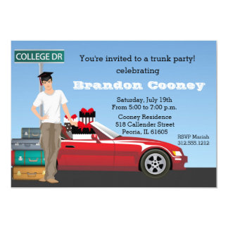 """College Graduation Trunk Party Going Away Brunette 5"""" X 7"""" Invitation Card"""