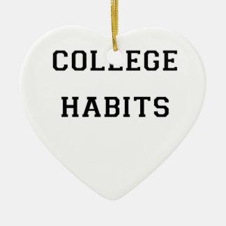 College Habits Ceramic Heart Ornament