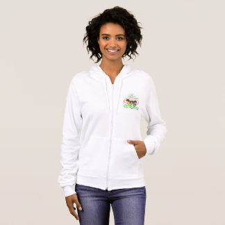College Lovers Women's Fleece Zip Hoodie, White Hoodie
