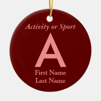 College or High School Varsity Letter Keepsake Ceramic Ornament
