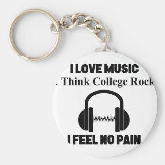 College Rock Basic Round Button Keychain