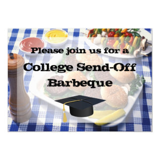 "College Send-off BBQ Burgers on Table Personalized 5"" X 7"" Invitation Card"