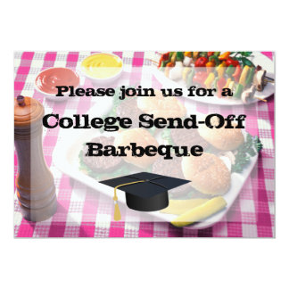 College Send-off Party BBQ Burgers Pink Tablecloth 5x7 Paper Invitation Card
