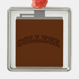 College Silver-Colored Square Ornament