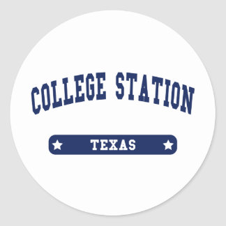 College Station Texas College Style tee shirts Classic Round Sticker