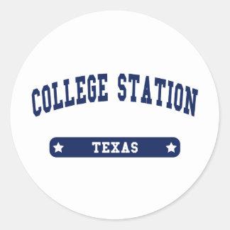 College Station Texas College Style tee shirts Round Sticker