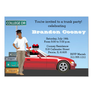 """College Trunk Party Male Going Away 5"""" X 7"""" Invitation Card"""