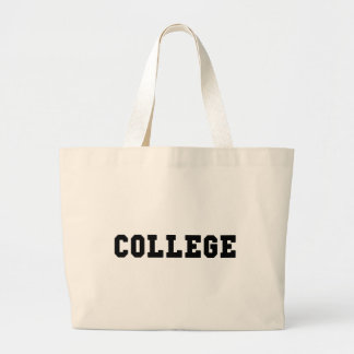 College with Black Lettering Large Tote Bag