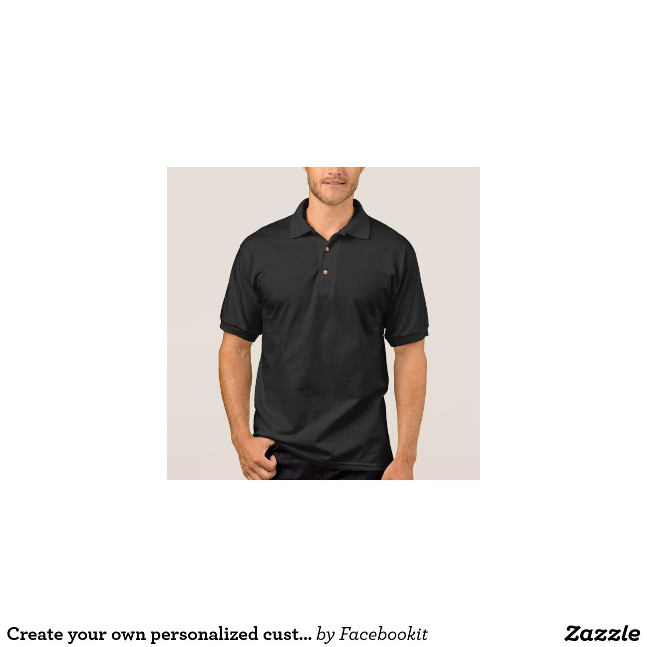 Coller shirt black polo template zazzle for Zazzle t shirt template