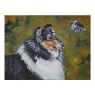 collie and chickadee art print
