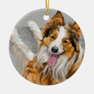 Collie Ceramic Ornament