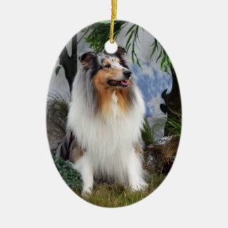 Collie dog blue merle, hanging ornament, gift idea ceramic ornament
