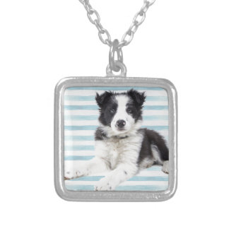 Collie Dog Pup Silver Plated Necklace