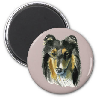Collie Dog Watercolor Illustration 2 Inch Round Magnet