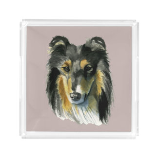 Collie Dog Watercolor Illustration Acrylic Tray