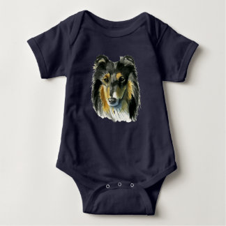 Collie Dog Watercolor Illustration Baby Bodysuit