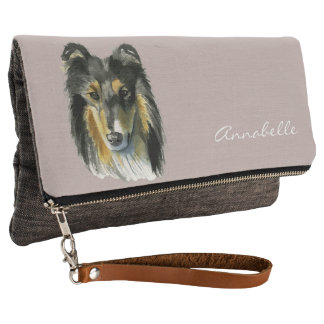 Collie Dog Watercolor Illustration Clutch