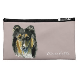 Collie Dog Watercolor Illustration Cosmetic Bag