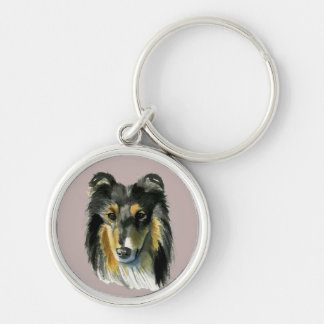 Collie Dog Watercolor Illustration Keychain