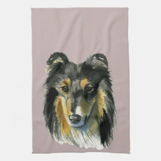 Collie Dog Watercolor Illustration Kitchen Towel