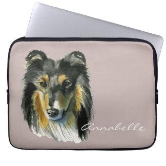 Collie Dog Watercolor Illustration Laptop Sleeve