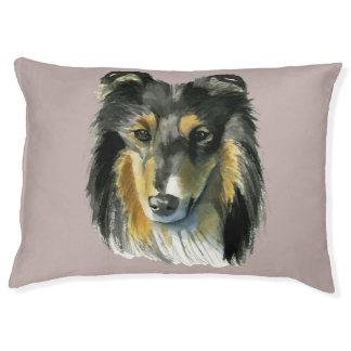 Collie Dog Watercolor Illustration Large Dog Bed