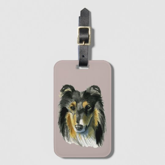 Collie Dog Watercolor Illustration Luggage Tag