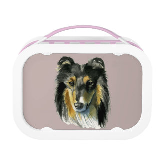 Collie Dog Watercolor Illustration Lunch Box