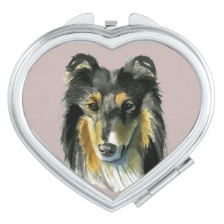 Collie Dog Watercolor Illustration Makeup Mirror