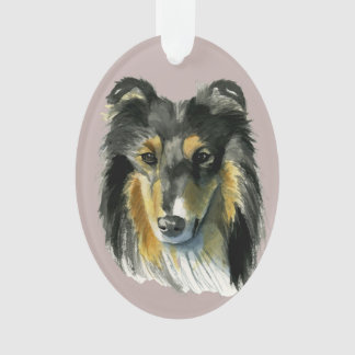 Collie Dog Watercolor Illustration Ornament