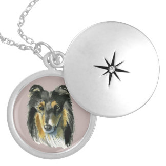 Collie Dog Watercolor Illustration Silver Plated Necklace