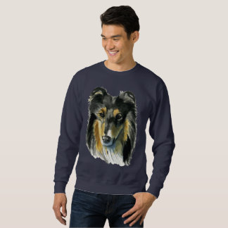 Collie Dog Watercolor Illustration Sweatshirt
