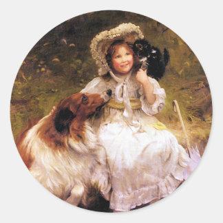 Collie, Girl and Cat Round Sticker