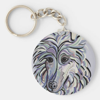 Collie in Denim Colors Keychain