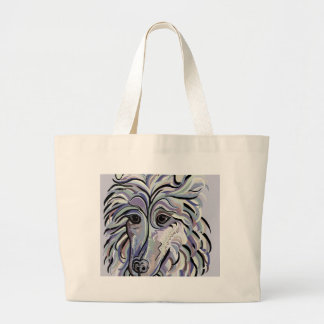 Collie in Denim Colors Large Tote Bag
