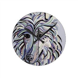 Collie in Denim Colors Round Clock