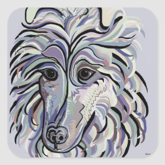 Collie in Denim Colors Square Sticker
