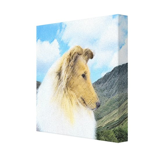 Collie in Mountains (Rough) Painting - Dog Art Canvas Print