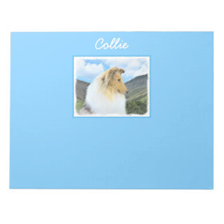 Collie in Mountains (Rough) Painting - Dog Art Notepad