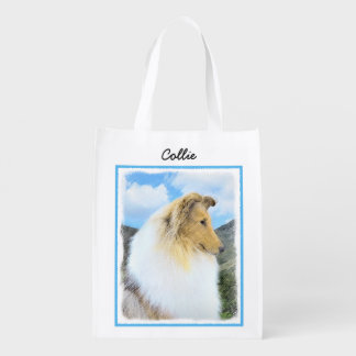 Collie in Mountains (Rough) Painting - Dog Art Reusable Grocery Bag