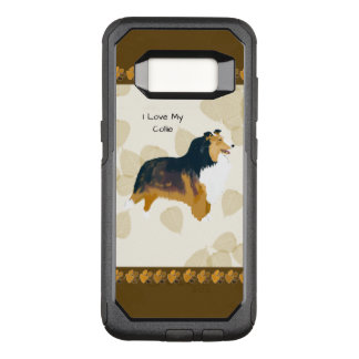 Collie on Tan Leaves OtterBox Commuter Samsung Galaxy S8 Case