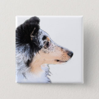 Collie Puppy 2 Inch Square Button