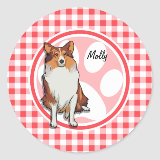 Collie; Red and White Gingham Round Sticker