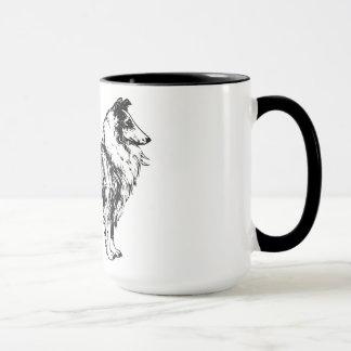 collie rough dog line art coffe, tea mug, gift mug