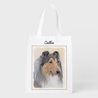 Collie (Rough) Painting - Cute Original Dog Art Reusable Grocery Bag
