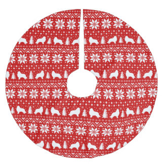 Collie Silhouettes Christmas Pattern Red Brushed Polyester Tree Skirt